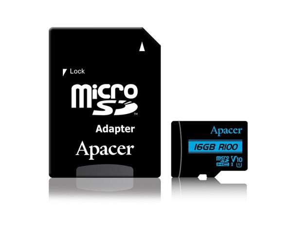 APACER UHS-I MicroSDHC 16GB V10 + Adapter AP16GMCSH10U6-R