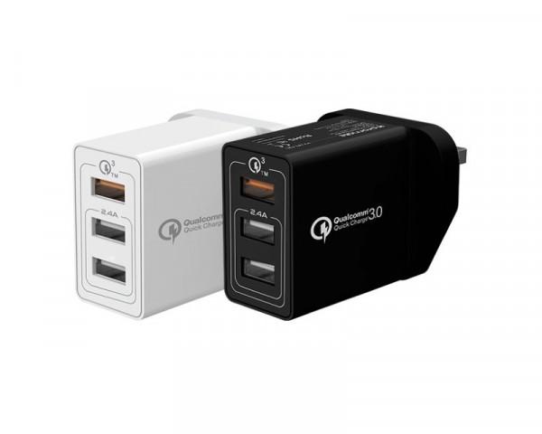 PROMATE Kraft-QC 3.0 zidni punjac 3 USB port beli