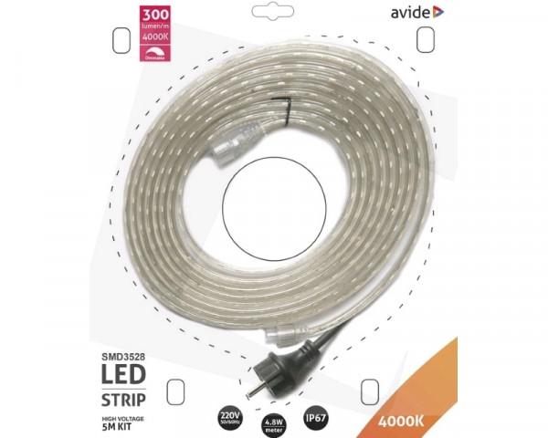AVIDE ABLSBL-220V-3528-60NW67 LED traka 220V 4.8W 4000k 5m