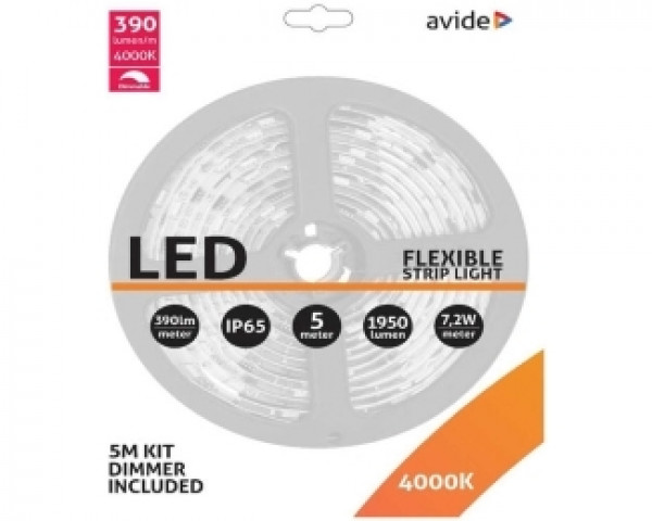 AVIDE ABLSBL12V5050-30NW-D65 LED traka 12V 7.2W 4000k 5m + Dimmer