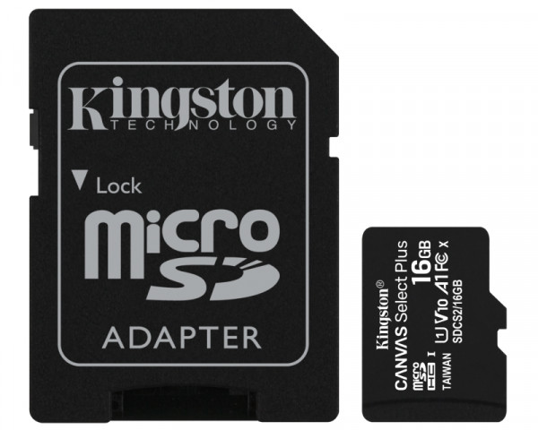 KINGSTON A1 MicroSDHC 16GB 100R class 10 SDCS216GB + adapter