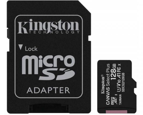 KINGSTON A1 MicroSDXC 128GB 100R class 10 SDCS2128GB + adapter