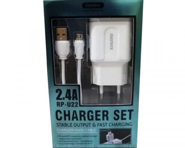 REMAX Strujni FAST punjac 2,4A 2x USB+ Micro kabl 1m beli