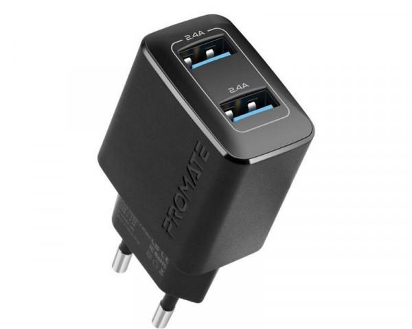 PROMATE BIPLUG 12W zidni punjac 2 USB port crni