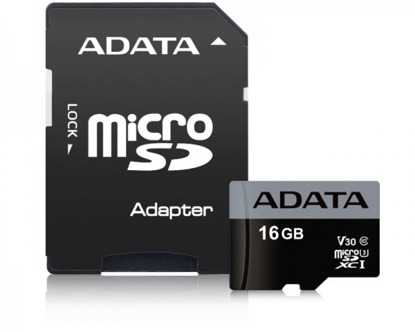 A-DATA UHS-I U3 MicroSDHC 16GB V30S class 10 + adapter AUSDH16GUI3V30S-RA1