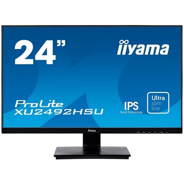 IIYAMA Monitor Prolite, 24'' ULTRA SLIM LINE, 1920x1080, IPS-panel, 4ms, 250 cdm2, Speakers, VGA, HDMI, DisplayPort, USB-HUB ( XU2492HSU-B1