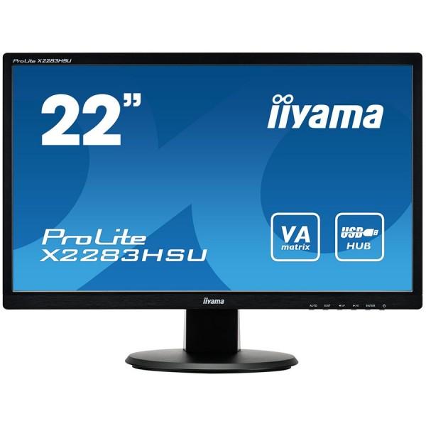 IIYAMA Monitor 21,5'' 1920x1080, 250cdm˛, Speakers, DisplayPort, DVI, VGA, USB-HUB 2x2.0, 5ms ( X2283HSU-B1DP )
