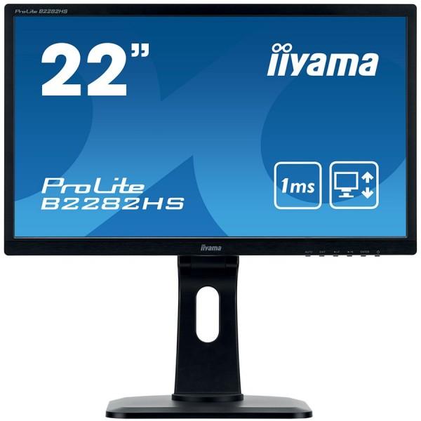 IIYAMA Monitor 21,5'' 1920x1080, 13cm Height Adj. Stand, Pivot, 250cdm2, Speakers, VGA, DVI, HDMI, 1ms ( B2282HS-B1 )