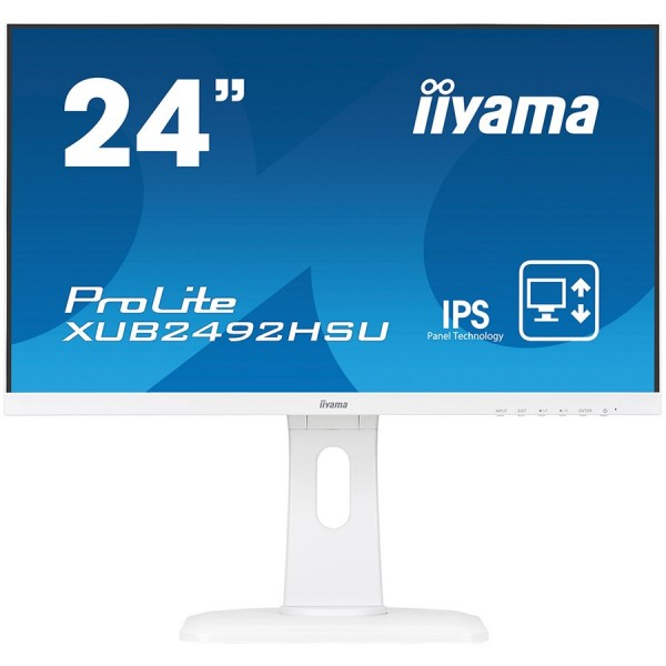 IIYAMA Monitor Prolite, 24'' WHITE, ETE ULTRA SLIM LINE , 1920x1080, ETE IPS-panel, 13cm Height Adj. Stand, Pivot, 250 cdm˛, Speakers, VGA,