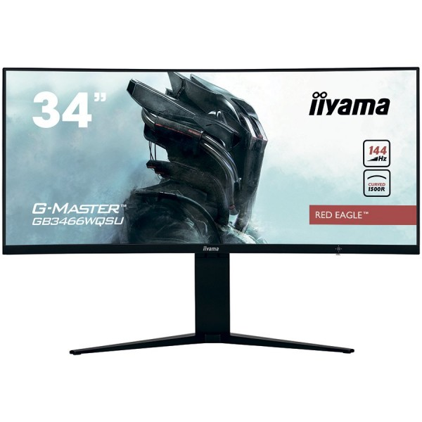 IIYAMA Monitor 34'' UW Pro-Gaming, G-Master Red Eagle, 1500R Curved, 144Hz, VA panel, 3440x1440 (21:9), Height Adjust. (11cm), 1ms (MPRT), 4
