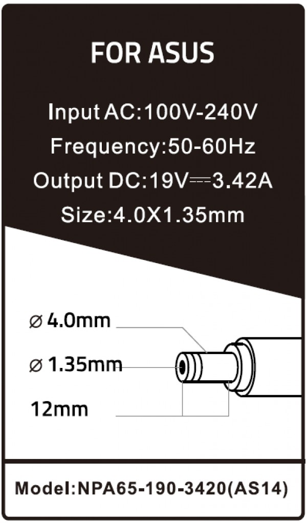 NPA65-190-3420 (AS14) ** Gembird punjac za laptop 65W-19V-3.42A, 4.0x1.35mm black (661)