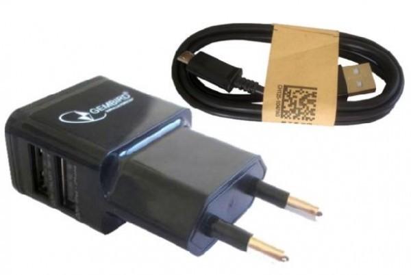 NPA-AC21 black * Gembird punjac za telefone i tablete 5v 2.1A+1A 2xUSB +micro USB DATA kabl 1M(219)