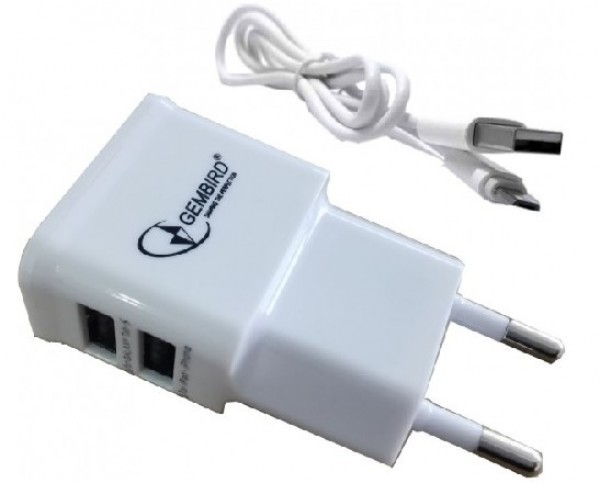 NPA-AC21 white * Gembird punjac za telefone i tablete 5v 2.1A+1A 2xUSB+micro USB DATA kabl 1M(219)