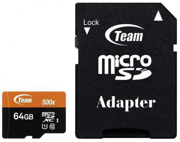 TeamGroup MICRO SDXC 64GB UHS-I +SD Adapter TUSDX64GUHS03