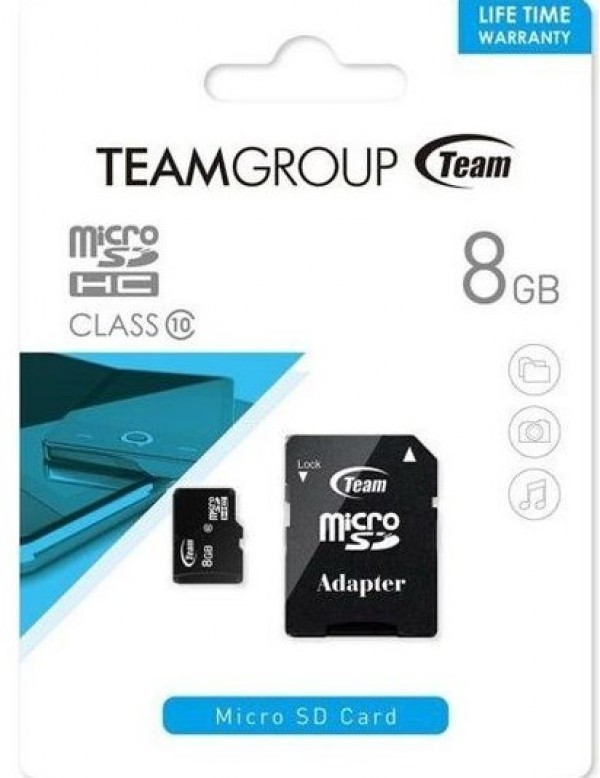 TeamGroup MICRO SDHC 8GB CLASS 10+SD Adapter TUSDH8GCL1003