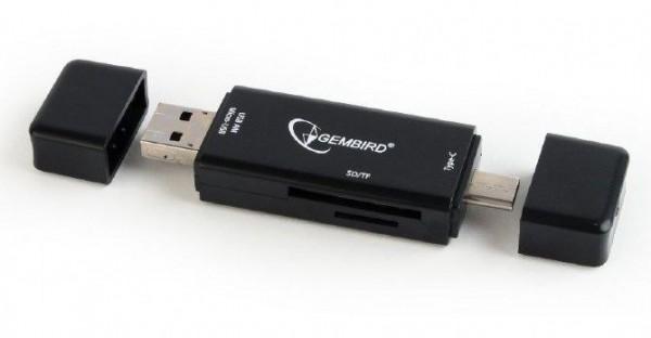 UHB-CR3IN1-01 Gembird Multi-USB citac kartica za mobilne telefone (USB, Micro USB, Type-c)