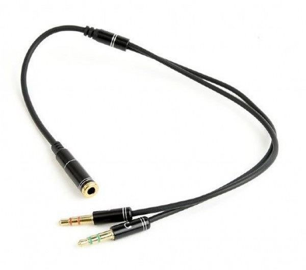 CCA-418M Gembird 3.5mm Headphone Mic Audio Y Splitter Cable Female to 2x3.5mm Male adapter, Metal