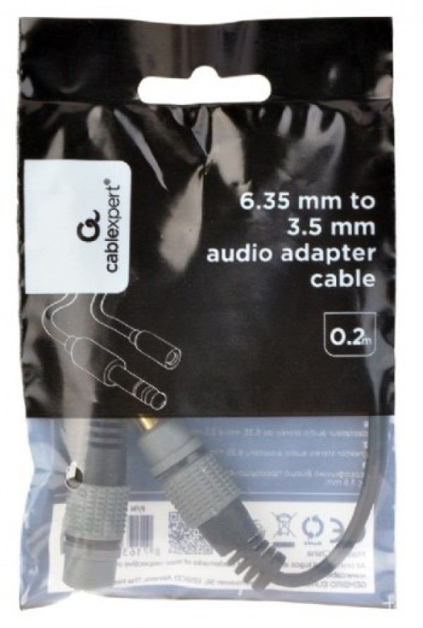 A-63M35F-0.2M Gembird 6.35mm to 3.5mm audio adapter cable, 0.2m
