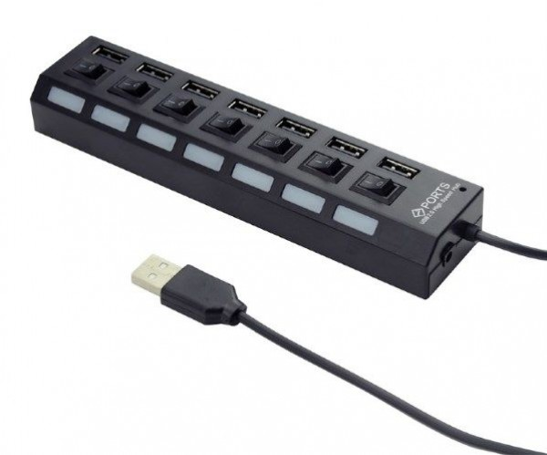 UHB-U2P7-03 Gembird USB 2.0 powered 7-port hub with switches, black
