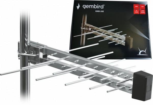GMB-20E sa kutijom **Gembird Antena Loga UHF sa RF-Konektorom, 2 elemenata, duzina 39cm, 6dB alu 381