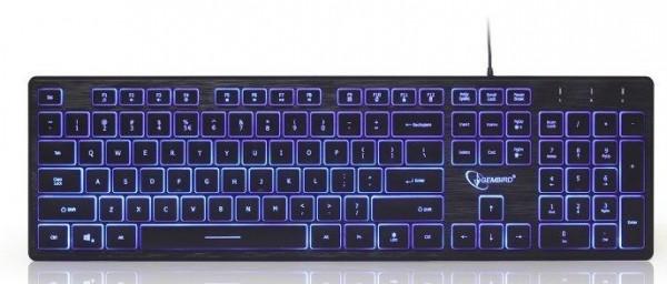 KB-UML3-01 Gembird tastatura multimedijalna sa pozadinskim osvetljenjem, US layout USB