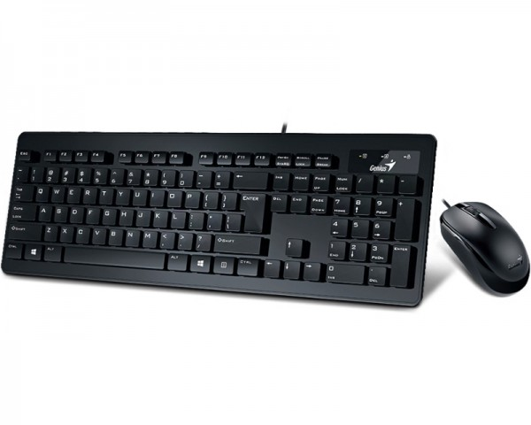 GENIUS SlimStar C130 USB US crna tastatura+ USB crni miš