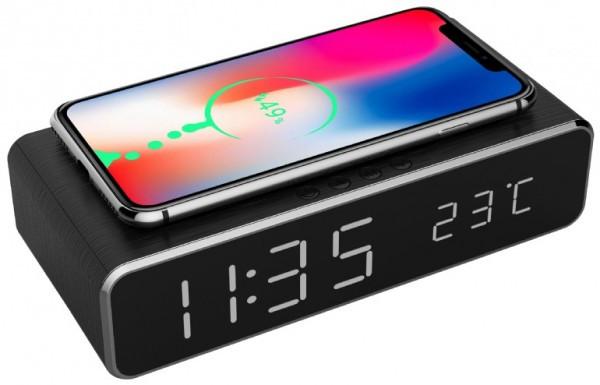 DAC-WPC-01 Gembird Digitalni sat + alarm sa bezicnim punjenjem telefona, Black