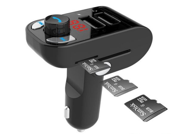 BTT-02 Gembird 3-in-1 Bluetooth carkit with FM-radio transmitter and USB 3.1 A charger, black