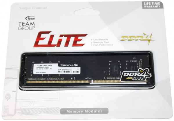 TeamGroup DDR4 TEAM ELITE UD-D4 4GB 2666MHZ 1,2V 19-19-19-43 TED44G2666C1901
