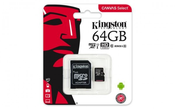 MICRO SD 64GB KINGSTON + SD adapter SDCS64GB