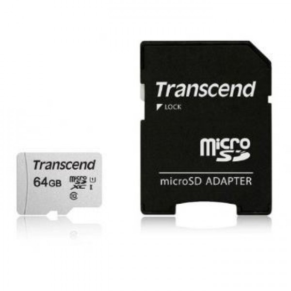 MICRO SD 64GB TRANSCEND + SD adapter TS64GUSD300S-A