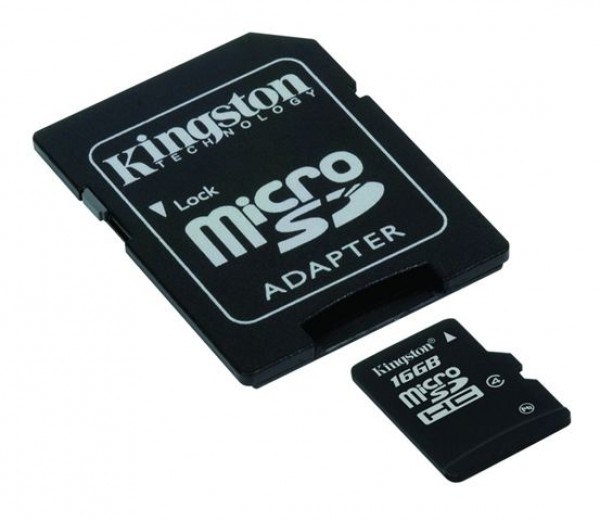 MICRO SD 16GB KINGSTON + SD adapter SDC416GB
