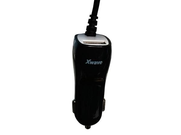USB auto punjač, microUSB+USB port, 5V/1A, sa kablom, Crna