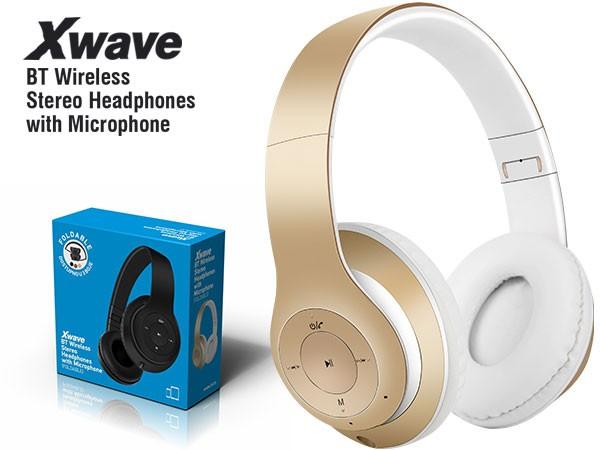 BT stereo slusalice sa mikrofon. v4.2,FM,microSD,Baterija 200mAh,8-9h razgovor,10m udaljenost,Zlatna 024080