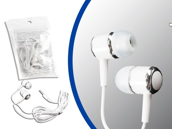 Slušalice, stereo, 3.5mm jack/1.2 m kabl/silikonske kapice/pvc bag