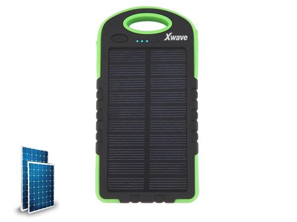 Dodatna baterija(backup) 6000mAh/1A + 2.1A/ dual USB/ solarni punjac, camping flash,crno-zeleni