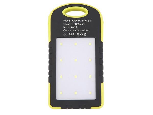 Dodatna baterija(backup) 6000mAh/1A + 2.1A/ dual USB/ solarni punjac, camping flash,crno-žuti