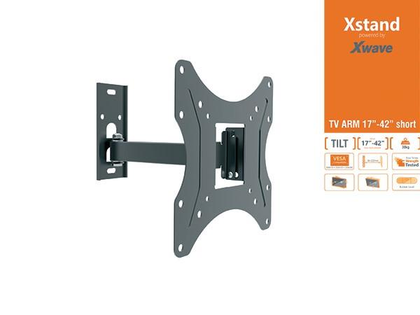 Xstand TV nosac, Full Motion, SHORT, 17''-42'', do 30kg, Tilt:-15°do+5°, Rotacija:180°, VESA:200x200