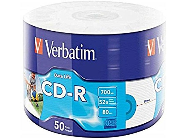 CD-R PRINTABLE VERBATIM 700MB 52X WRAP 1/50