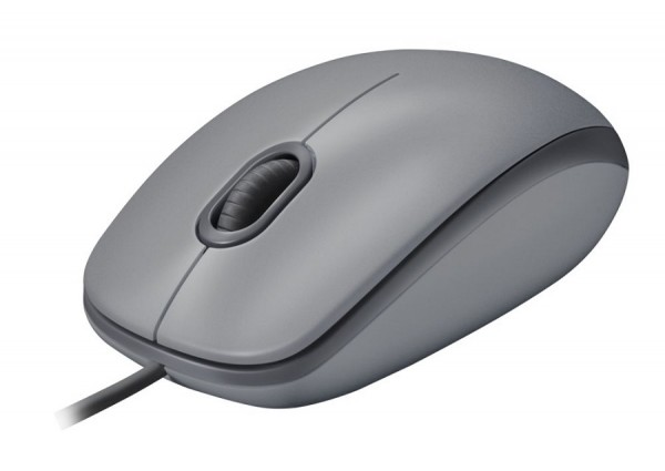 Logitech M110 Silent Optical Corded Mouse, Top Gray, New