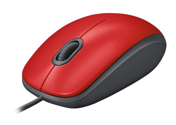 Logitech M110 Silent Optical Corded Mouse, Top Red, New