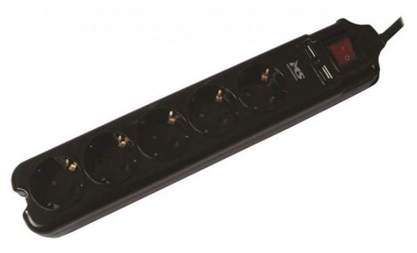 Produžni kabl MS BLASTER 5 crni 1,5m prenaponska zaštita