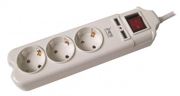 Produžni kabl MS BLASTER 3 beli 1,5m prenaponska zaštita