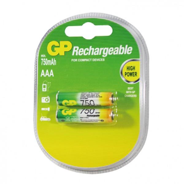 GP punjive baterije AAA 750 mAh 75AAAHC-2GBE-RECYKO
