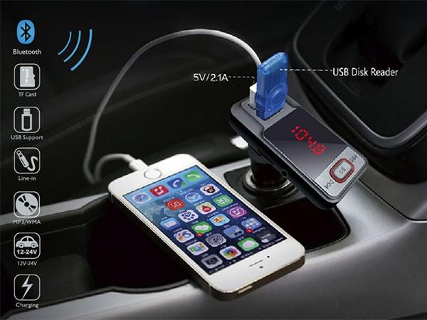 FM transmiter za kola,Bluetooth LCD (MP3/MP4)/microSD/dual USB  izlaza jačine 2.1A   ( 83976 )